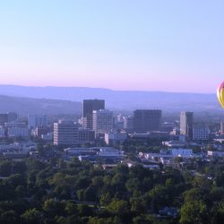 hot air balloon over Boise, ID
